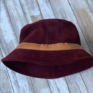 Coach red suede and leather bucket hat